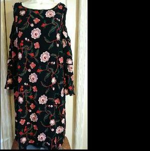 Avenue Black Red Floral Cold Shoulder Dress  20
